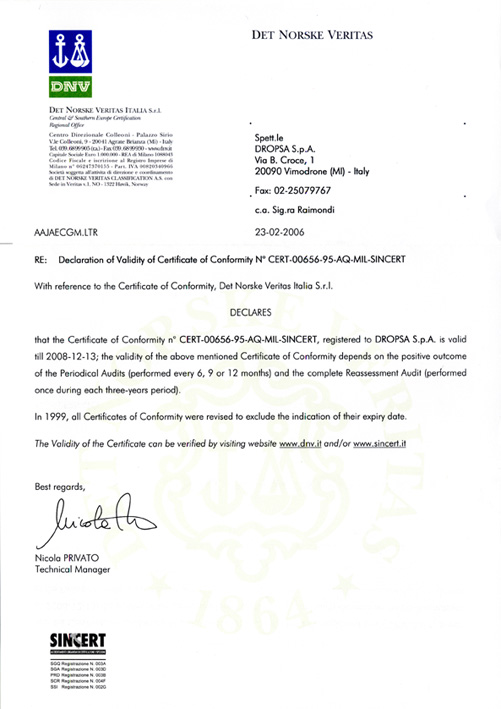 Declaration of certificate validity